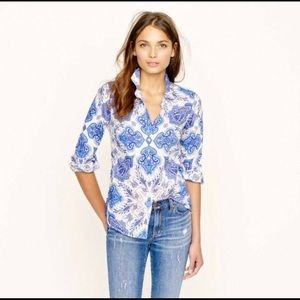 J. Crew Perfect Shirt Liberty print paisley floral